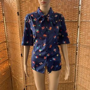 Vintages 80s 90s flag polka dots buttondown